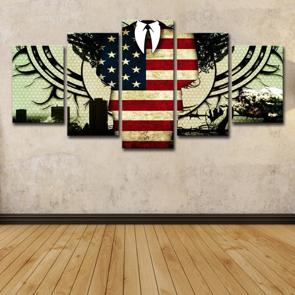 Flag Independence Day Canvas Wall Art Paintings 5 Panel Modern Posters Prints Pictures Living Room Home