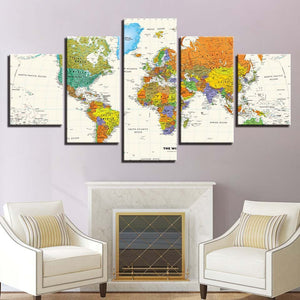 Home Decor Living Room Wall Art 5 Pieces World Map Modular Canvas Posters Pictures HD Printed Painting