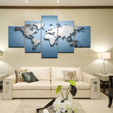 Modular Canvas Paintings Home Decor 5 Pieces World Map Pictures HD Prints Abstract Poster Wall Art