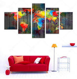 5 Piece Canvas Art Posters Prints Wall Prints Modular Pictures On The Wall For The World Map