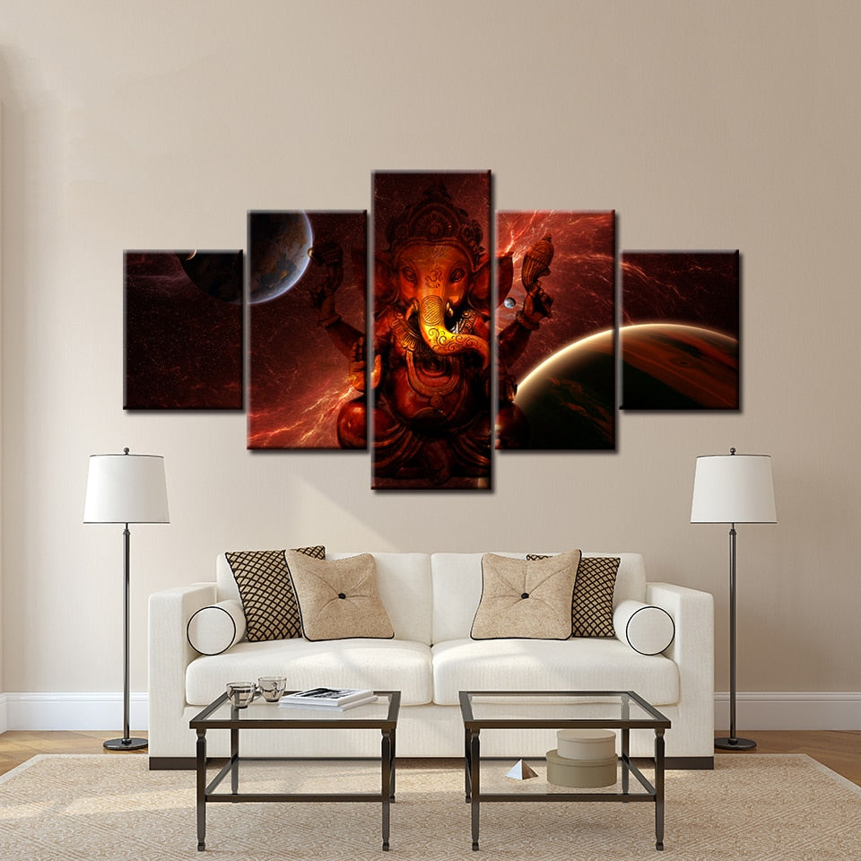 Hindu God Ganesha Planetary Wall Art Canvas Painting 5 Piece Modular Painting Wallpapers Poster Print