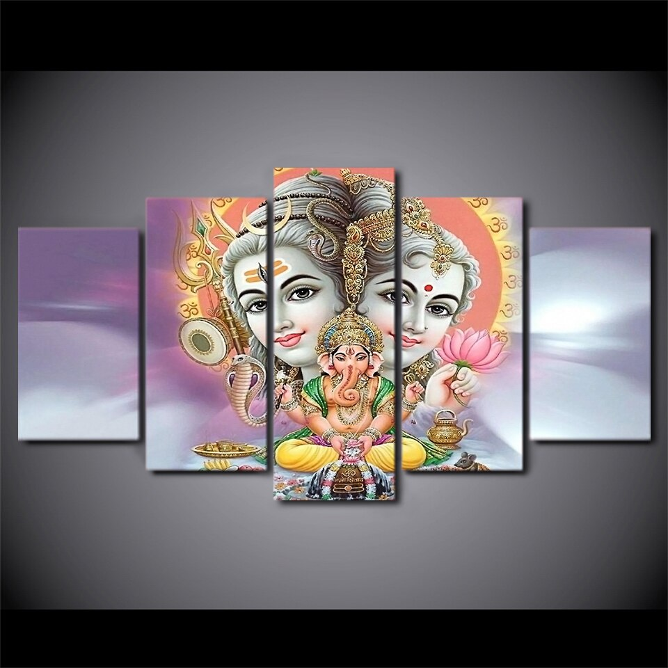 HD Printed 5 Piece Canvas Art Hindu God Lord Shiva Parvati Ganesh