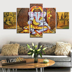 Canvas Hindu Gods Pictures Wall Art Poster 5 Piece Indian Ganesha God Pictures  Religion Paintings