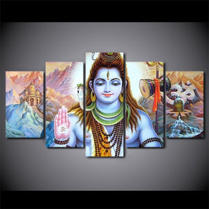 HD Printed 5 Piece Canvas Art Hindu God Lord Parvati Shiva Poster Wall Pictures Living Room