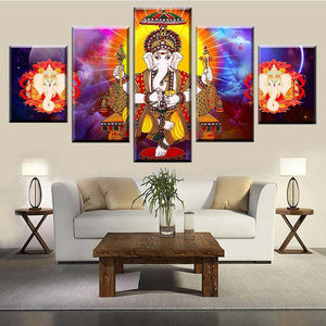 Painting Wall Art Modular Canvas 5 Pieces Hindu Lord Ganesha Living Room Wisdom God Picture Poster Decoration