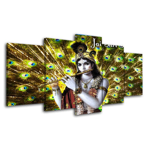 5 Piece Canvas Painting Peacock Poster Prints Hindu God Picture Wall Decor Abstract Canvas Poster