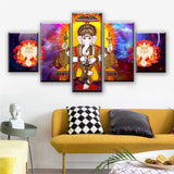 Modular Canvas Painting Wall Art Pictures 5 Pieces Hindu Lord Ganesha Living Room God Of Wisdom Poster