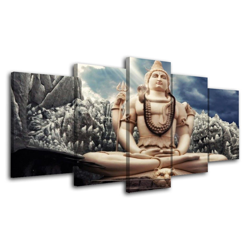 5 Piece Buda Pictures Wall Art Hindu God Shiva Painting Modular Canvas Poster Home Decor HD Prints