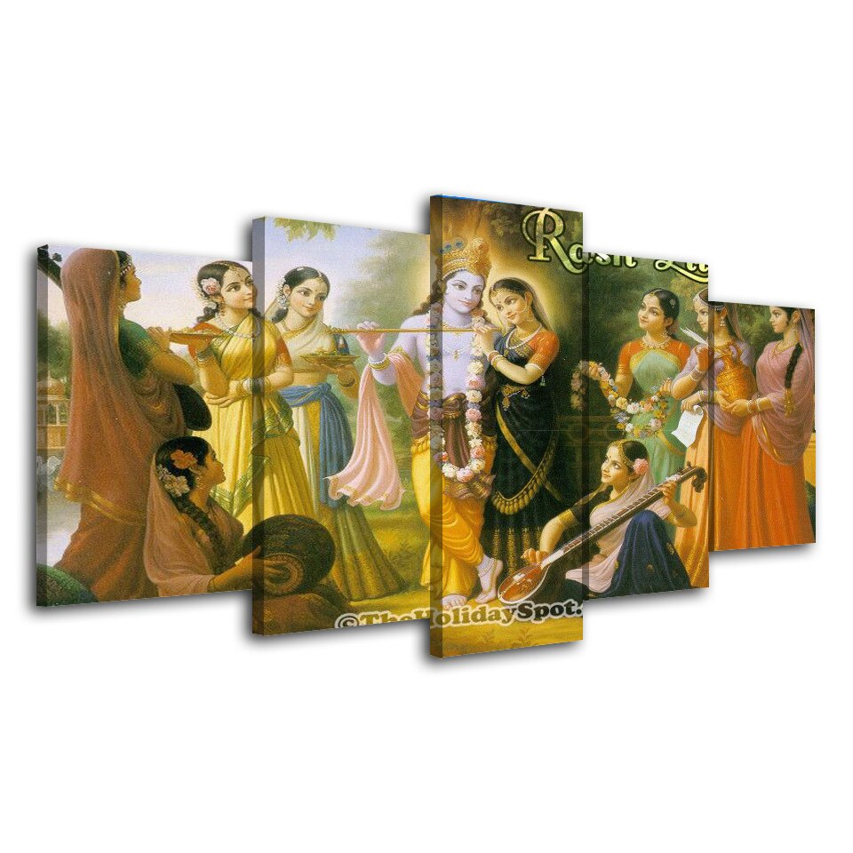 5 Piece Home Decor God Canvas Painting Quadros Decor Hindu Art Picture Prints Poster Wall Art