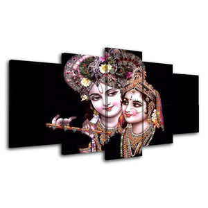 5 Piece Wall Decor Abstract Canvas Painting Hindu God Poster Prints Picture Black Painting Home Decor