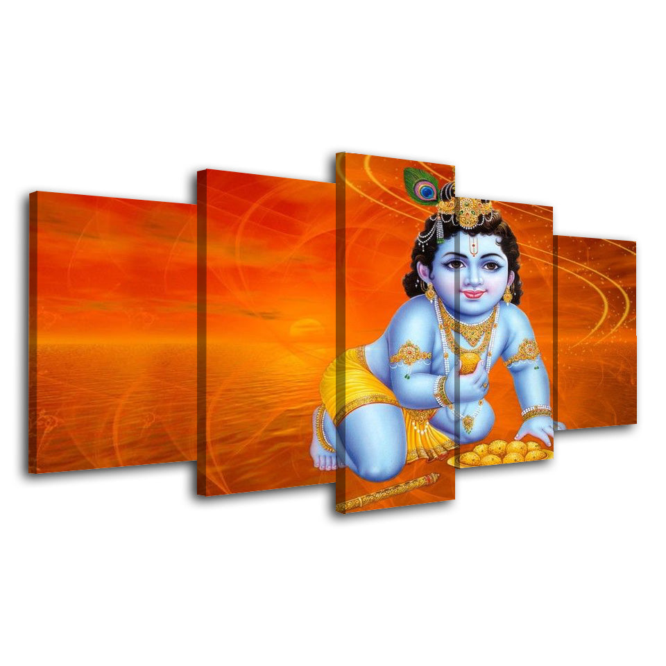 5 Piece Canvas Painting Hindu God  Poster Prints Flamingo Picture Wall Decor Abstract Painting