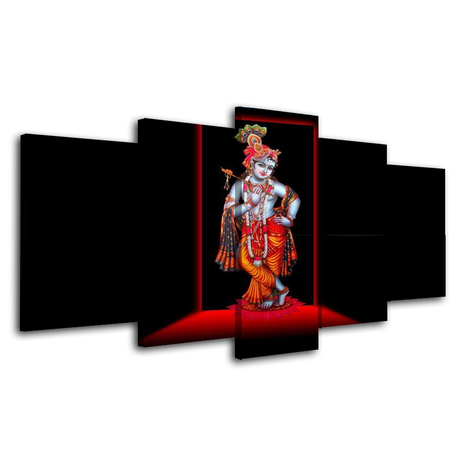 5 Piece Home Decor God Hindu Wall Art Canvas Painting Cuadros Decor Black And Art Picture Prints Canvas