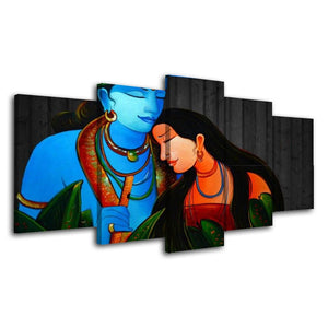 5 Piece Wall Art Hindu God Picture Blue And Red Canvas Posters Islamic Art Posters God Canvas Painting
