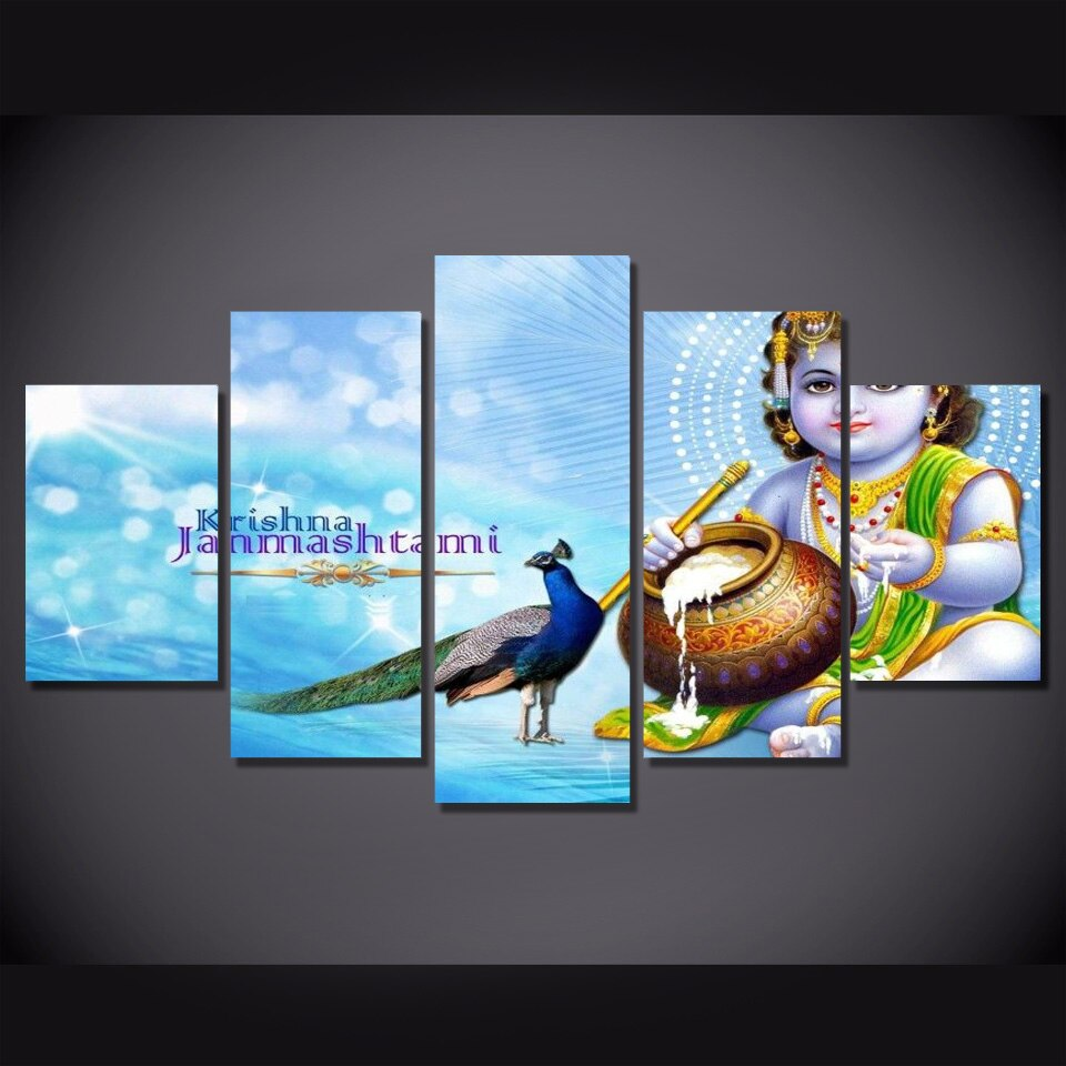 5 Piece Islamic Art Picture Wall Decor Hindu God Painting Canvas Blue Posters  Posters God Canvas Painting