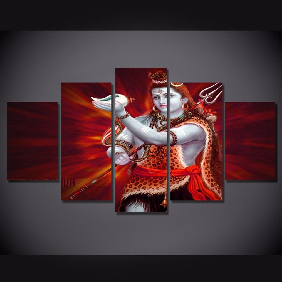 5 Piece Canvas Painting Hindu God Art Poster Wall Picture Indian Flamingo Posters And Prints Anime Poster