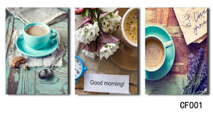 3 Panel Printed  Coffee Poster Painting Canvas Art Picture Home Giveaways Wall Sticker