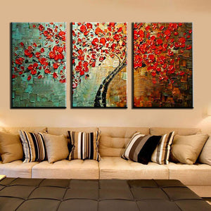 3 Panel Red Wishing Tree Textured Palette Knife Abstract Oil Painting Wall Picture For Living Room