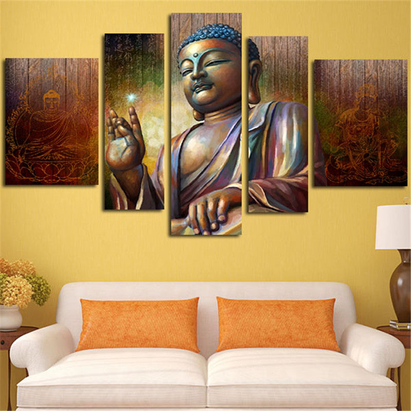 5 Piece Home Decoration Wall Art Large HD Canvas Painting Printed Buddha Modular Picture Painting