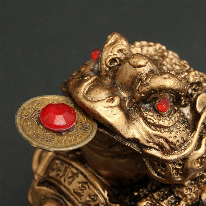 Popular Toad Lucky Money Gifts Home Golden Color Feng Shui for Frog Chinese Coin Decoration Size Wealth Statue