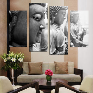 4 Piece Buddha Face Canvas Painting Home Decor Wall Art Picture Living Room