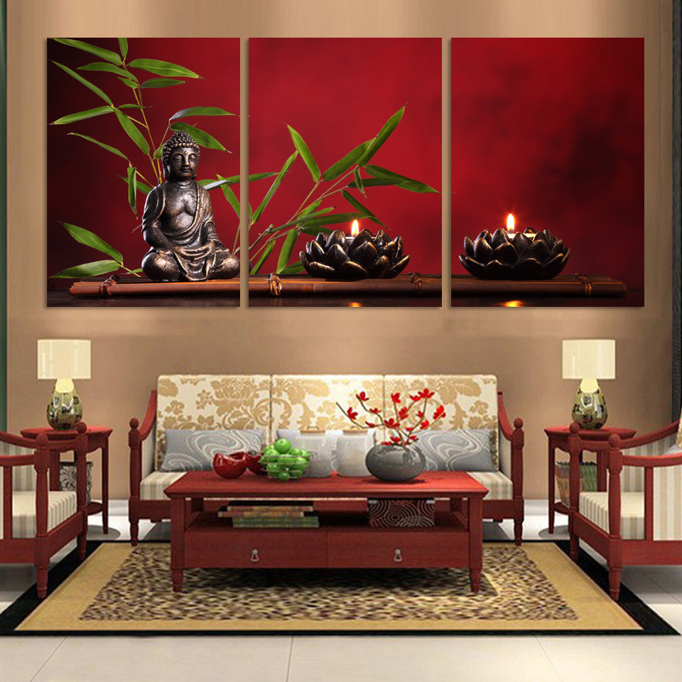 3 pieces large buddha canvas print painting home decor wall art pictur bakeryworldstyle - Wall paintings for living room ...