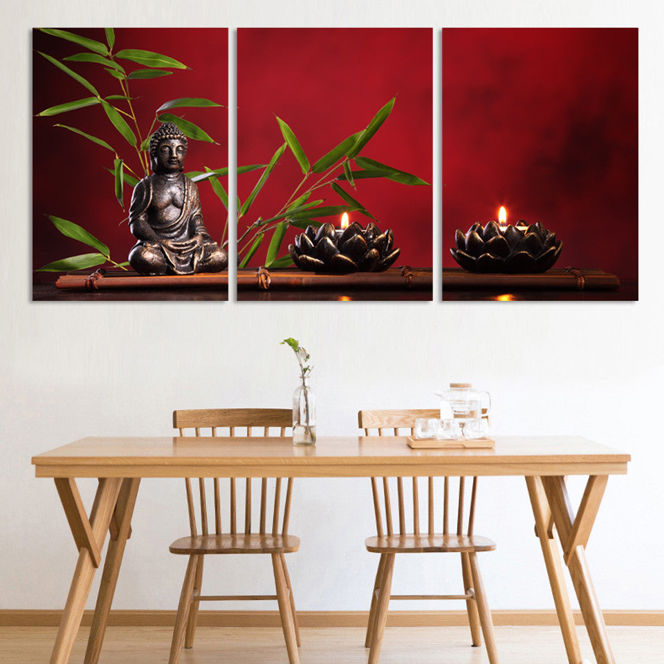 ... 3 Pieces Large Buddha Canvas Print Painting Home Decor Wall Art Picture  Living Room Modular ...