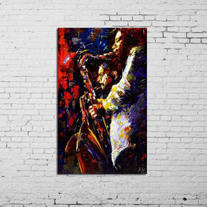 Handpainted Oil Panting Jazz Contemporary Original Abstract Art Canvas African American Art