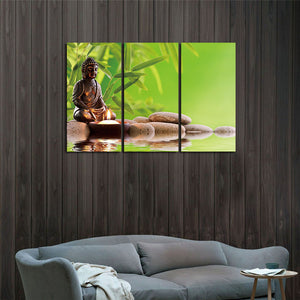 Decoracion Buddha Canvas Printings Wall Pictures Meditation Paintings 3 Panels Posters