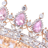 Elegant Pink Crystal Bridal Crown Classic Gold Tiaras Women Wedding Hair Jewelry Accessories