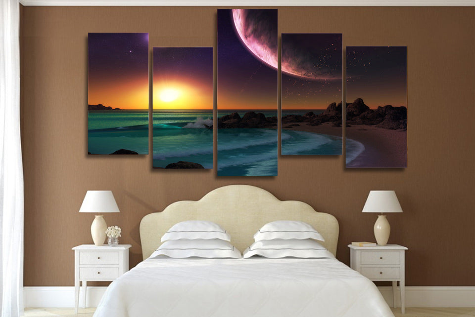HD Printed Purple Planet Ocean Artistic Painting on Canvas Print Poster Picture Canvas