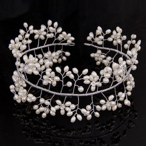Newly Pearl Beads Shiny Tiara Crown Hair Wedding Accessories Head Piece Bride Headband Hair