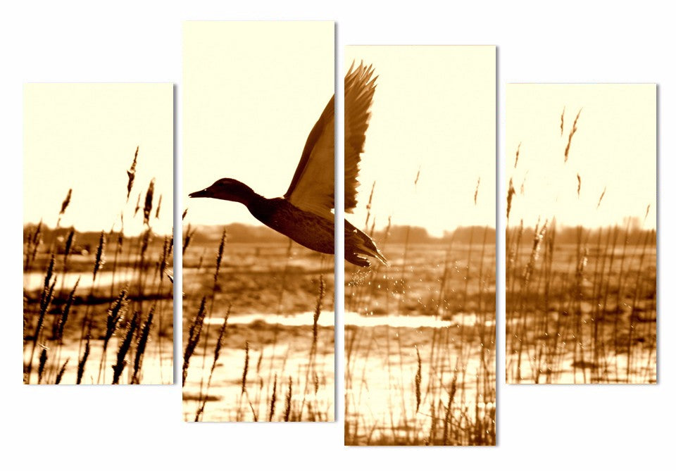 HD Printed 4 Piece Canvas Wall Art Duck Flying Lake Painting Room Decorative Pictures