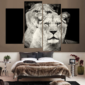 HD Printed 4 Pcs Black And White Lion Painting On Canvas Room Decoration Print Poster Picture
