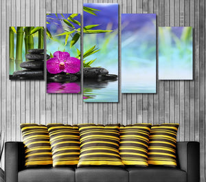 HD Printed Stones Bamboo Flower Painting Canvas Print Poster Picture Canvas