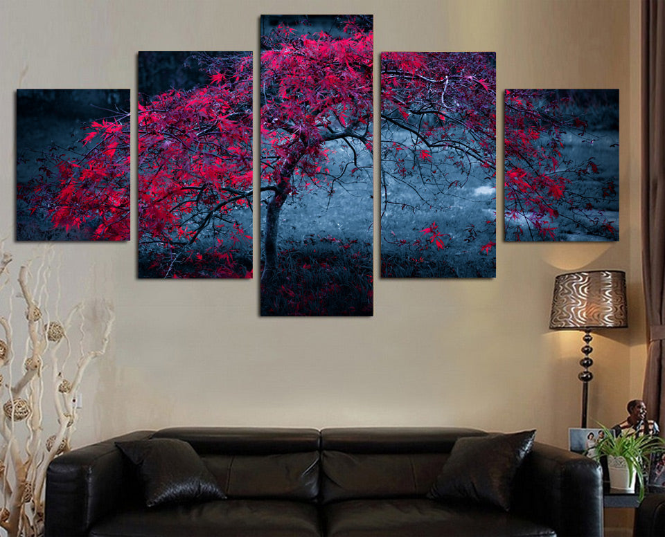 HD Printed Tree Leaves Purple Autumn Painting Canvas Print Room Decor Print Poster Picture Canvas