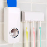 Fashion Automatic Toothpaste Dispenser With Five Toothbrush Holder Stand Wall Mount Bathroom Toothbrush