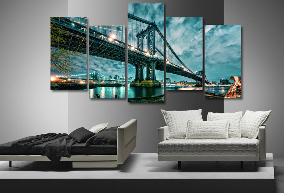 HD Printed Brooklyn Manhattan Bridge Painting Wall Art Room Decor Print Poster Picture Canvas