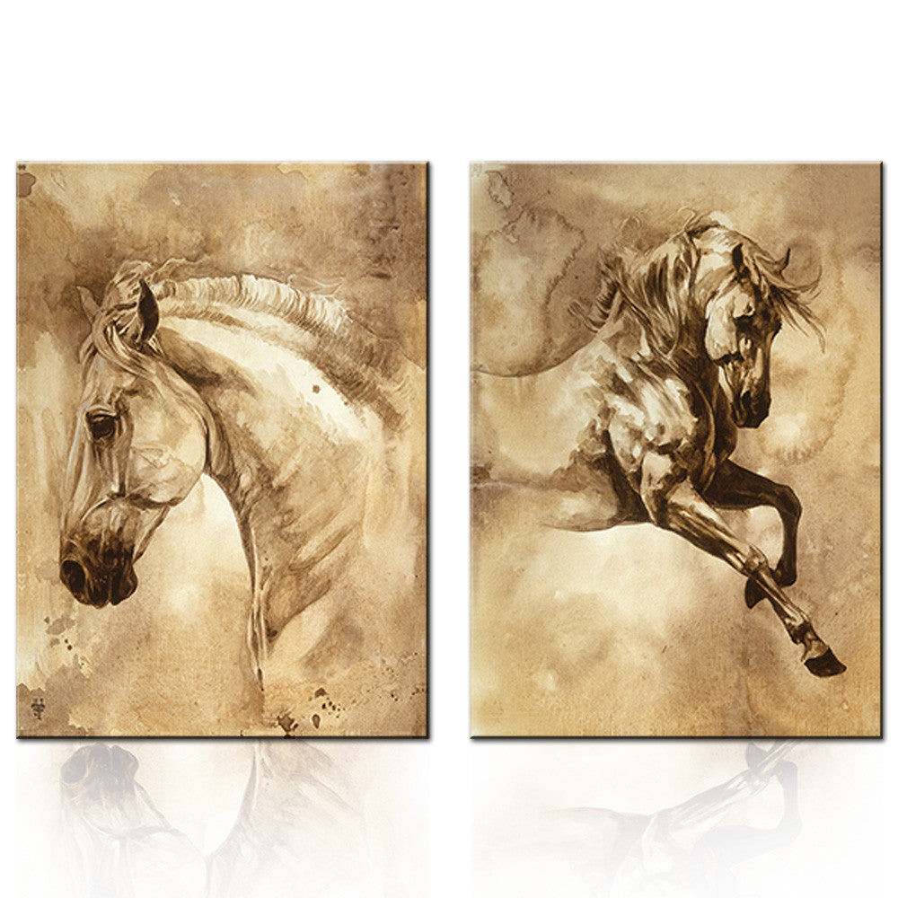2 Pcs European Oil Painting Horse On Canvas Wall Art Picture Wall ...