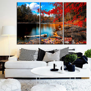 Canvas Painting Red Lake Tree Landscape Quadros Decoration Oil Picture Scenery Wall Art Picture 3 Piece