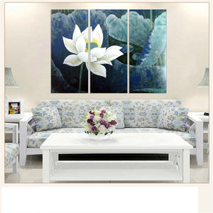Modular Canvas Painting White Lotus Wall Painting Flower Oil Picture Scenery Art Print and Poster Home Decoration 3pcs
