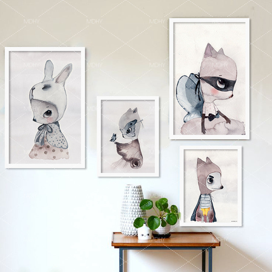 Cartoon Rabbit Watercolor Canvas Art Print Painting Poster Wall Picture Girls Room Decoration