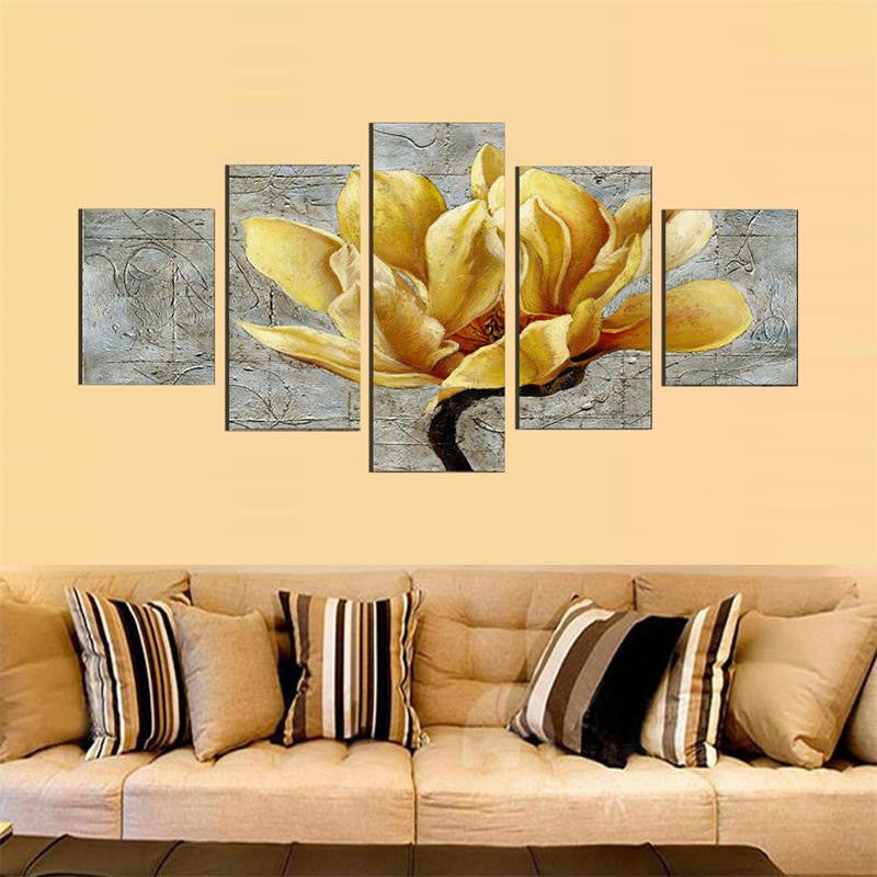 Pictures Canvas Oil Painting Gold Orchid Flower Painting Wall Art Decorative Living Room Modular Picture
