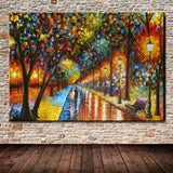 Handmade Palette Knife Park Street Oil Painting On Canvas Art Pictures  Decor Wall Paintings