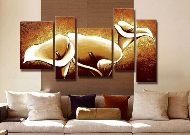 Hand Painted Oil Paintings The Golden Flowers 5 Piece Canvas Art Al Oleo Wall Pictures
