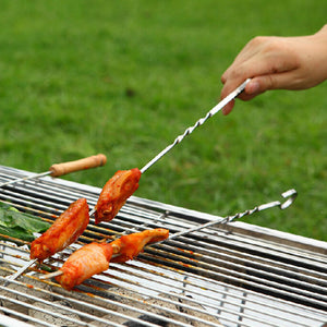 BBQ Barbecue Stainless Steel Grilling Kabob Kebab Flat Skewers Needle Food Camping Picnic