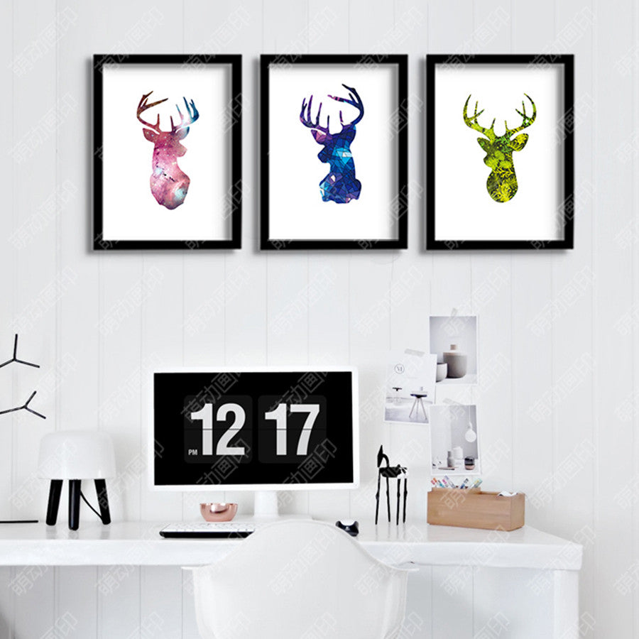 Nordic Canvas Art Print Home Wall Decoration Moose Silhouette Painting