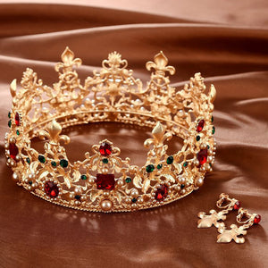 Baroque Retro Pearl Crystal Crown Bridal Wedding Jewelry Rhinestone Tiaras Crowns Pageant