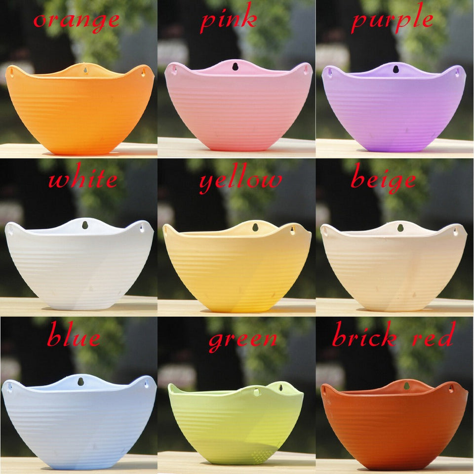 2pc 9 Color 20*13CM Plain Color Round Plastic Hanging Planter Flower Pot With Metal Chain For Home