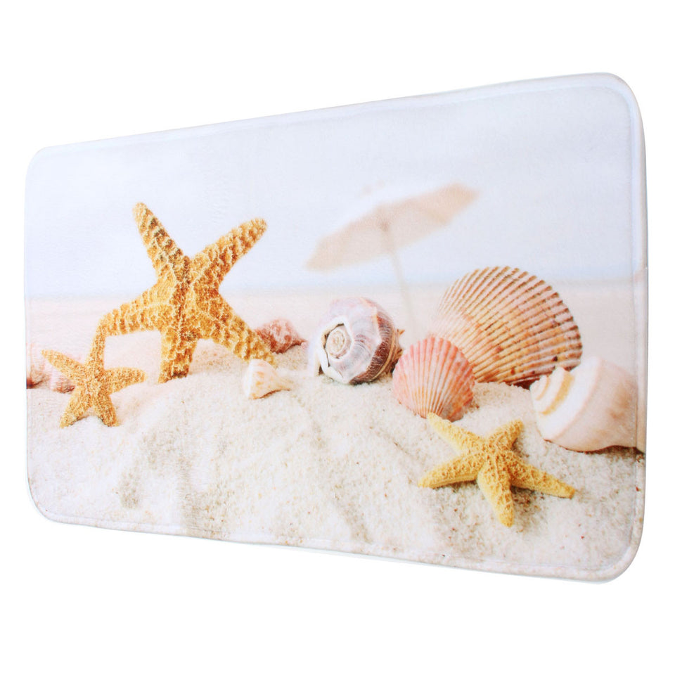 Beach Shells Pad Slip Resistance Carpet Bathroom Toilet Mat Velvet Bath Mats Home Hotel Design Decor Fabrics