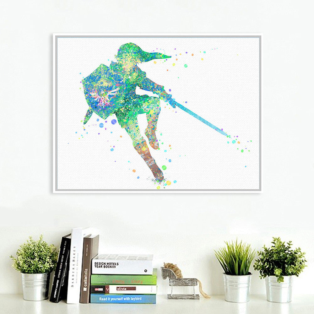 Watercolor Japanese Game Poster Print Abstract Picture Kids Room Wall Art Canvas Painting